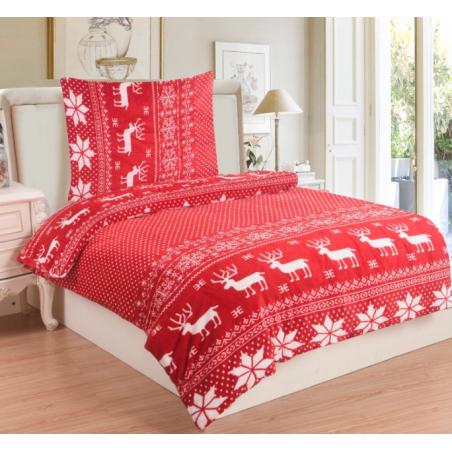 Mikroplyšové Vánoční povlečení červené Sobi