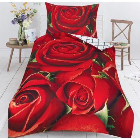 Bavlněné povlečení 3D červené růže