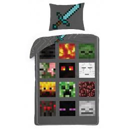 Povlečení Minecraft šedé