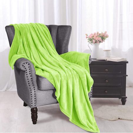 Hráškově zelená deka z mikrovlákna 200x220cm
