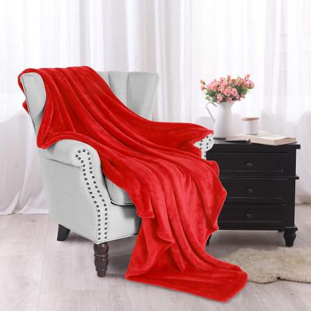Červená deka z mikrovlákna 150x200cm