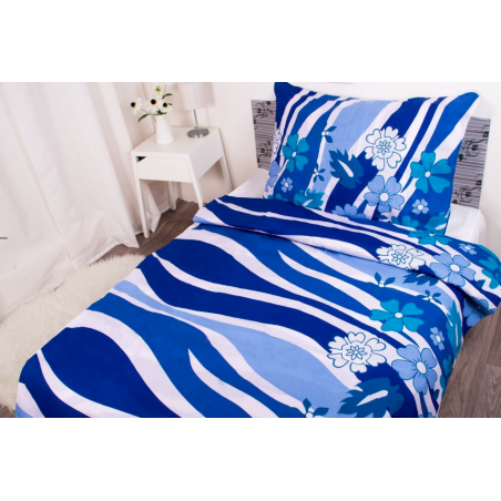 Povlečení z hladké bavlny modré s květy