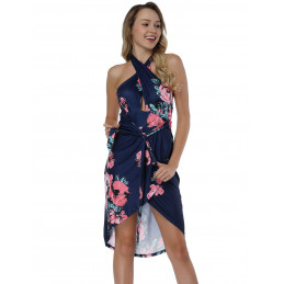 Letní šaty za krk modré