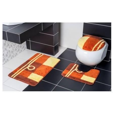 Koupelnová předložka oranžová 3-dílná