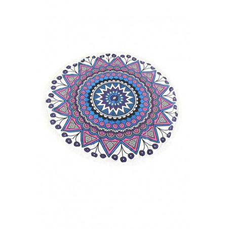 Kulatá plážová deka bavlněná modro-růžová