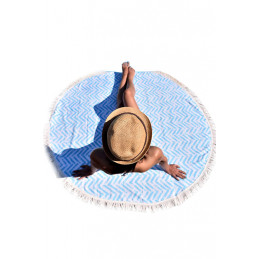 Kulatá plážová deka modrá s...