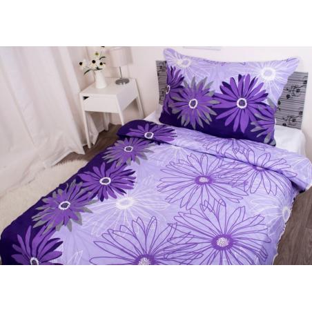 Povlečení z hladké bavlny fialové s květy