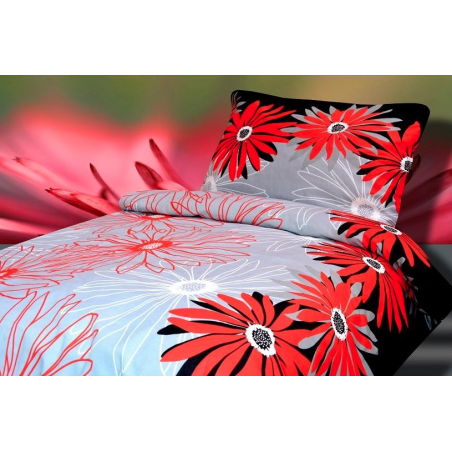 Povlečení z hladké bavlny červené s květy