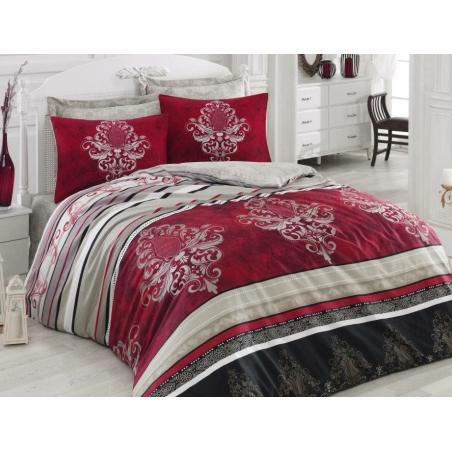 Saténové povlečení červené s ornamenty