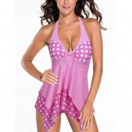 Plavkové šaty puntíkaté růžové