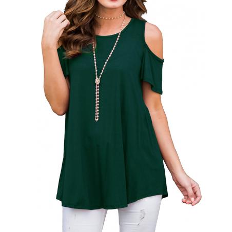 Dámské tričko s odhalenými rameny zelené