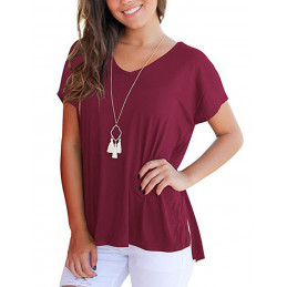 Bavlněné vínové tričko s...