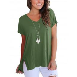 Bavlněné olivové tričko s...
