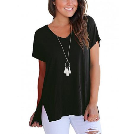 Bavlněné černé tričko s rozparkem