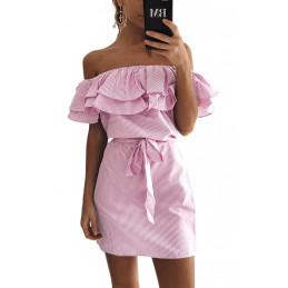 Lněné letní šaty růžové