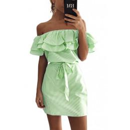 Lněné letní šaty zelené