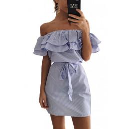 Lněné letní šaty modré