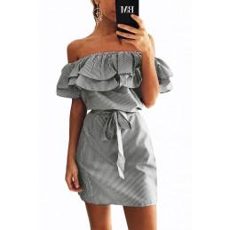 Lněné letní šaty šedé