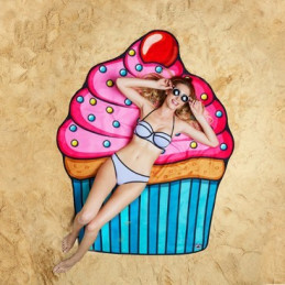 Kulatá plážová deka Cupcake