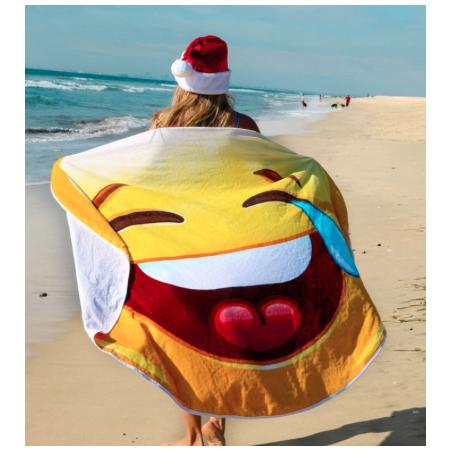 Kulatá plážová deka smajlík HaHa