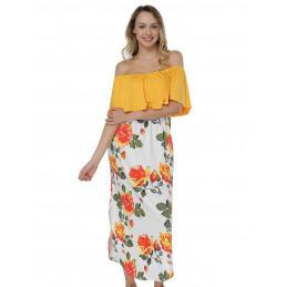 Žluté šaty bez ramínek