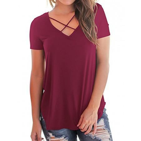 Bavlněné tričko s překřížením vínové