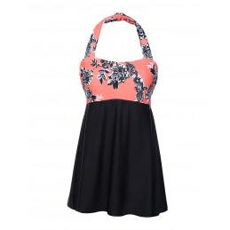 Plavkové šaty za krk květinové