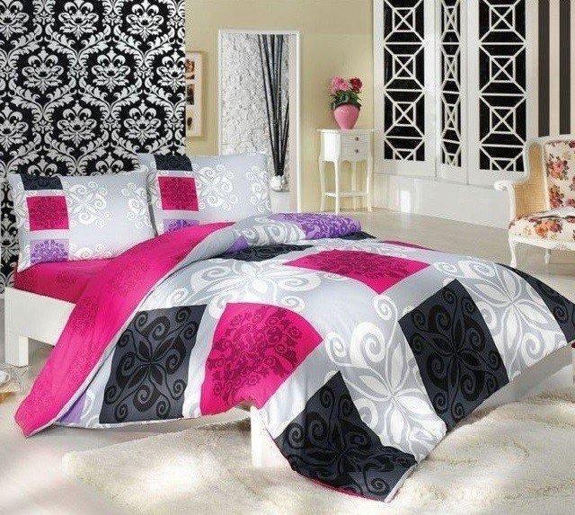 Bavlněné povlečení černo-růžové Deluxe