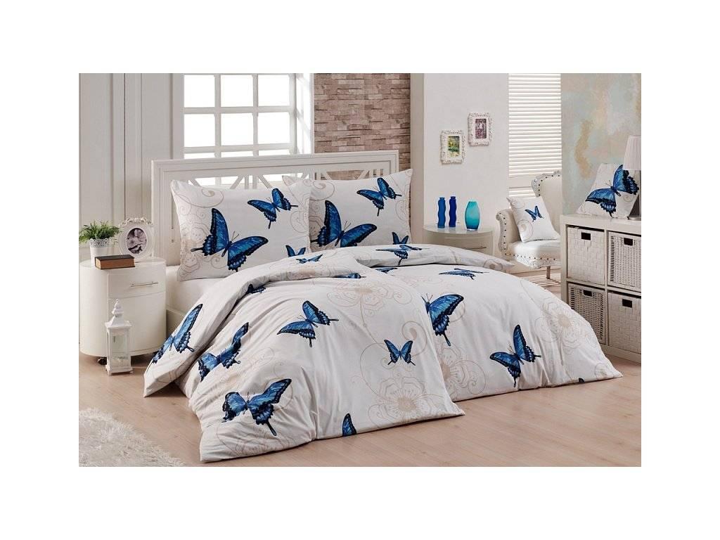Bavlněné povlečení modří Motýli