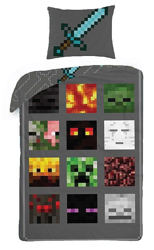 Povlečení Minecraft šedé - 140x200cm 39eddfad90
