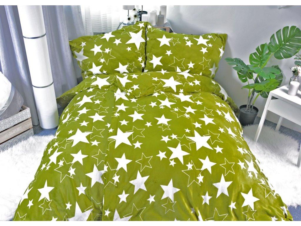 Mikroplyšové povlečení hvězdy Star zelené - 140x200cm, 70x90cm