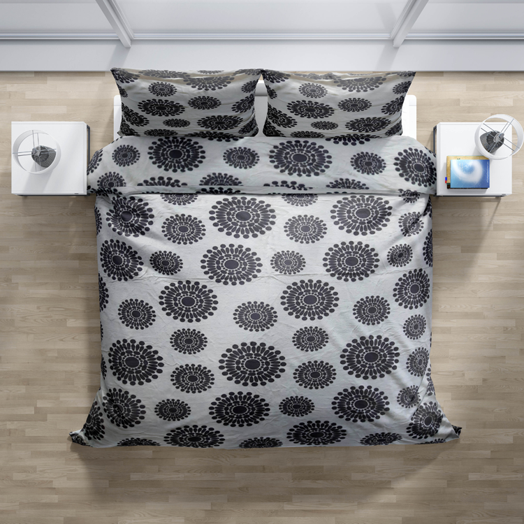 Mikroplyšové povlečení šedé Circle - 140x200cm, 70x90cm