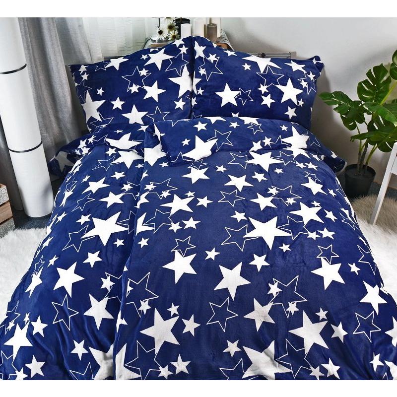 Mikroplyšové povlečení Hvězdy modré - 140x200cm, 70x90cm