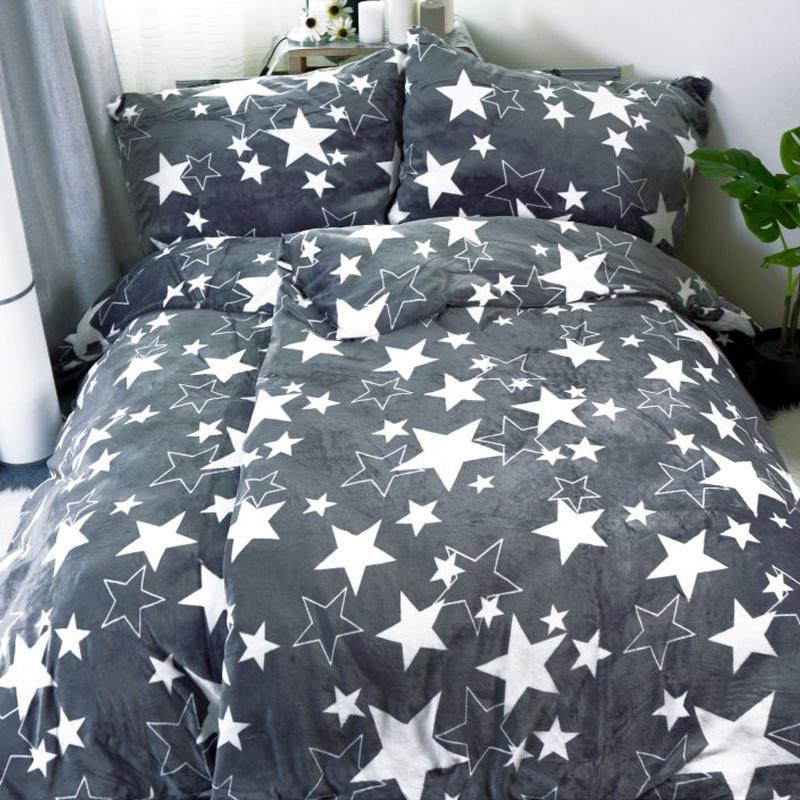 Mikroplyšové povlečení hvězdy Star šedé - 140x200cm, 70x90cm