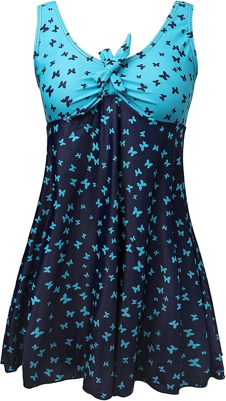 Plavkové šaty modré motýlci - L