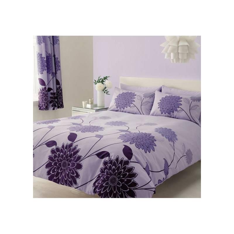 Krepové povlečení fialové s květy