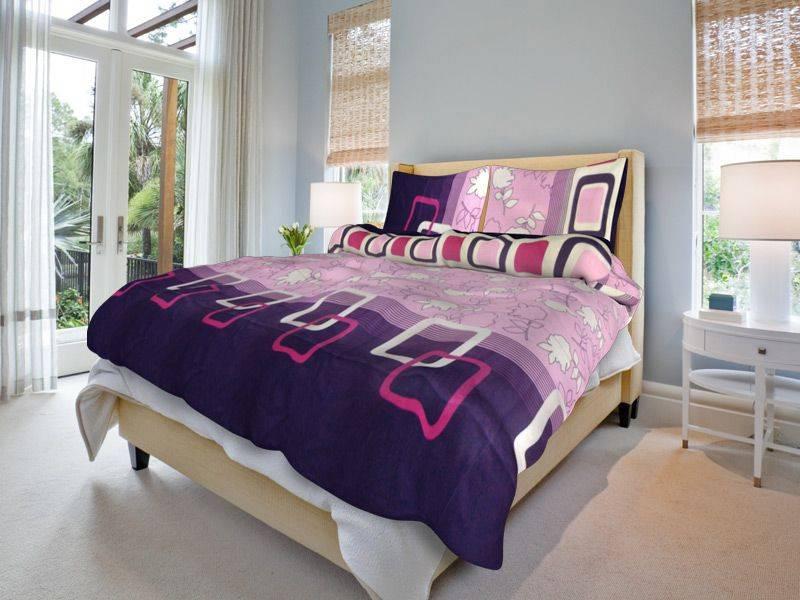 Bavlněné povlečení fialové Lila - 140x200cm, 70x90cm