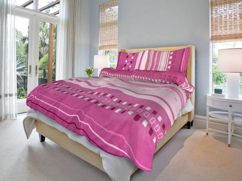 Bavlněné povlečení růžové kostkované - 140x200cm, 70x90cm
