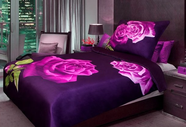 3D povlečení fialová růže - 140x200cm, 70x90cm