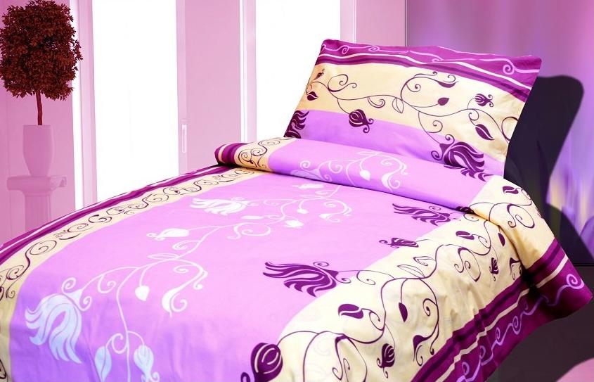 Povlečení bavlněné fialové s ornamenty - 140x200cm, 70x90cm
