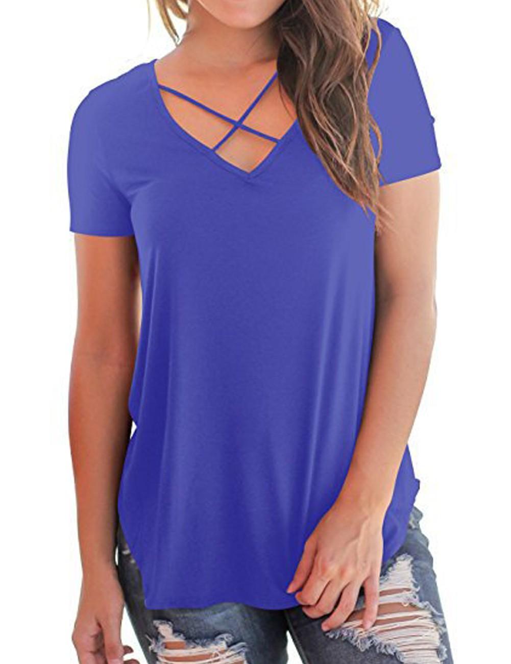 22dfa0c19770 Bavlněné tričko s překřížením světle fialové - 2 XL