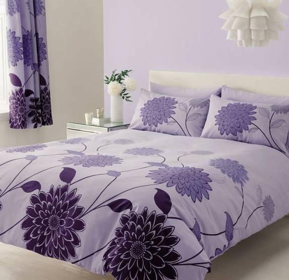 Bavlněné povlečení fialové s květy