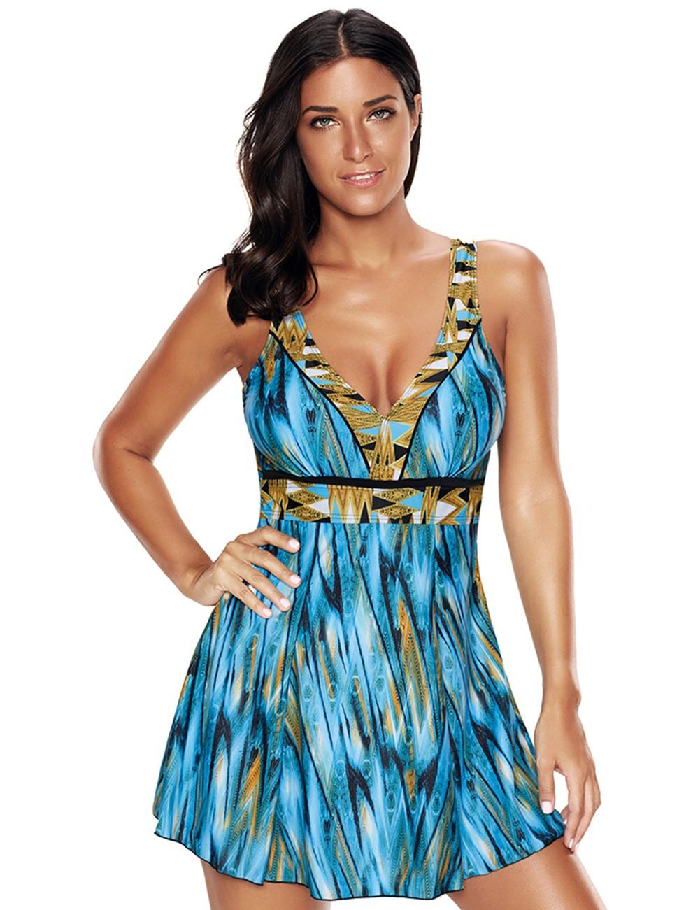 Plavkové šaty exotic - 4 XL